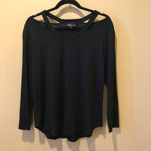 Amaryllis Black Cut Out Top